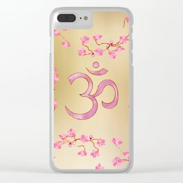 OM symbol  with gentle pastel pink flower tree branches Clear iPhone Case