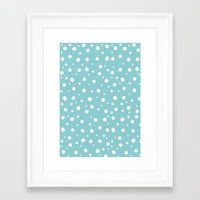 polkadot Framed Art Prints featuring White Polkadot by Laura Maria Designs