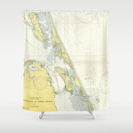 Vintage Map of The Outer Banks (1942) Shower Curtain