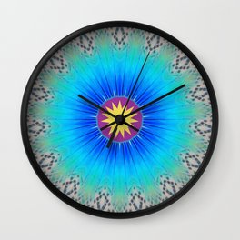 Textured Electric Blues Mandala with Yellow Accent Wall Clock