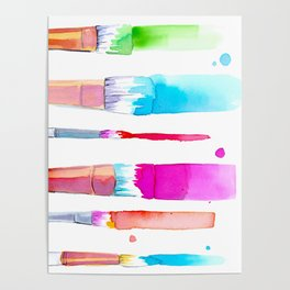 Watercolour Paint Brushes Poster