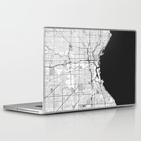 milwaukee Laptop & iPad Skins featuring Milwaukee Map Gray by City Art Posters
