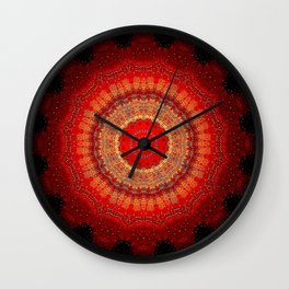 Vibrant Red Gold and black Mandala Wall Clock