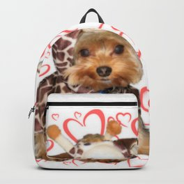 Dog | Dogs |Giraffe Costume | Yorkie with Hearts | Nadia Bonello Backpack