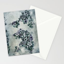 world map floral black and white Stationery Cards