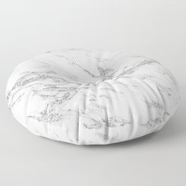 Elegant chic white gray silver glitter marble Floor Pillow