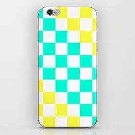 Cheerful Aqua & Yellow Checkerboard Pattern iPhone Skin