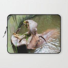 hippopotamus in the water Laptop Sleeve