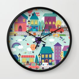 Cute Neighborhood Street Kids Pattern Wall Clock