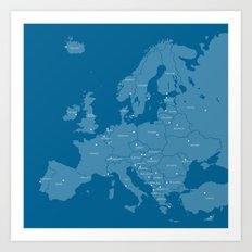 Europe map - blue Art Print