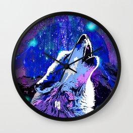 WOLF MOON AND SHOOTING STARS Wall Clock