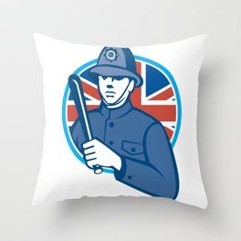 British Bobby Policeman Truncheon Union Jack Flag Throw Pillow
