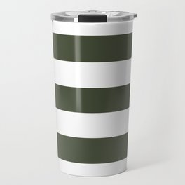 Rifle green - solid color - white stripes pattern Travel Mug