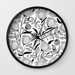 Black white flowers Wall Clock
