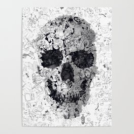 Doodle Skull BW Poster