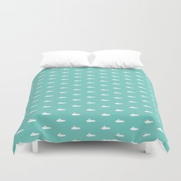 Tiny Subs - Teal Duvet Cover