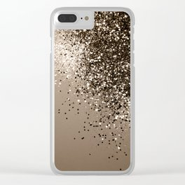Sparkling Sepia Lady Glitter #1 #shiny #decor #art #society6 Clear iPhone Case