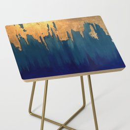 Gold Leaf & Blue Abstract Side Table