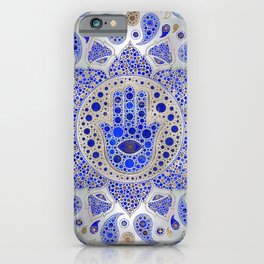 Hamsa Hand -Hand of Fatima Dot Art On Mother of pearl iPhone Case