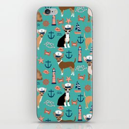 Chihuahua nautical sailor dog pet portraits dog costumes dog breed pattern custom gifts iPhone Skin