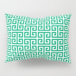 Jade and White Greek Key Pattern Pillow Sham