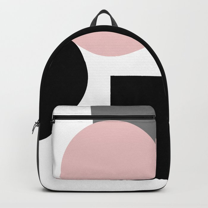 An abstract geometric pattern . Geometric shapes . Black pink white pattern . Backpack