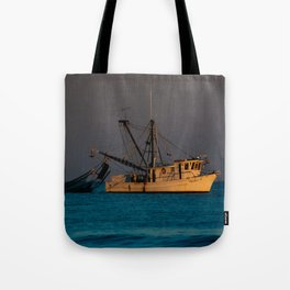Tucker J fishing boat Tote Bag