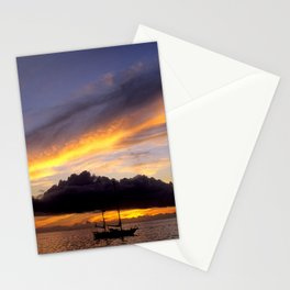 Tahiti Tropical Sunset over Sailboat Stationery Cards