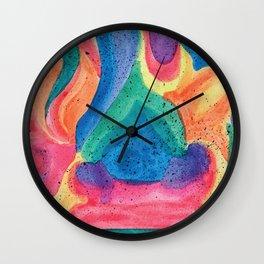 Facing Colors: Abstract Rainbow Painting Wall Clock