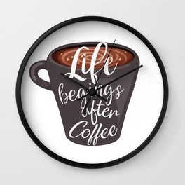 Life begins after coffee. Typography design Wall Clock