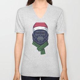 Funny Santa Animals Christmas Gorilla Christmas Animal Unisex V-Neck