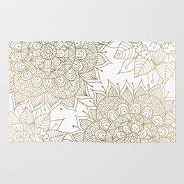 Elegant faux gold white spiritual floral mandala Rug