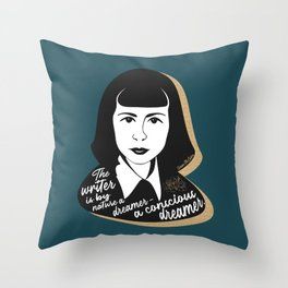 The Writer Is A Dreamer - Carson McCullers - Teal Throw Pillow