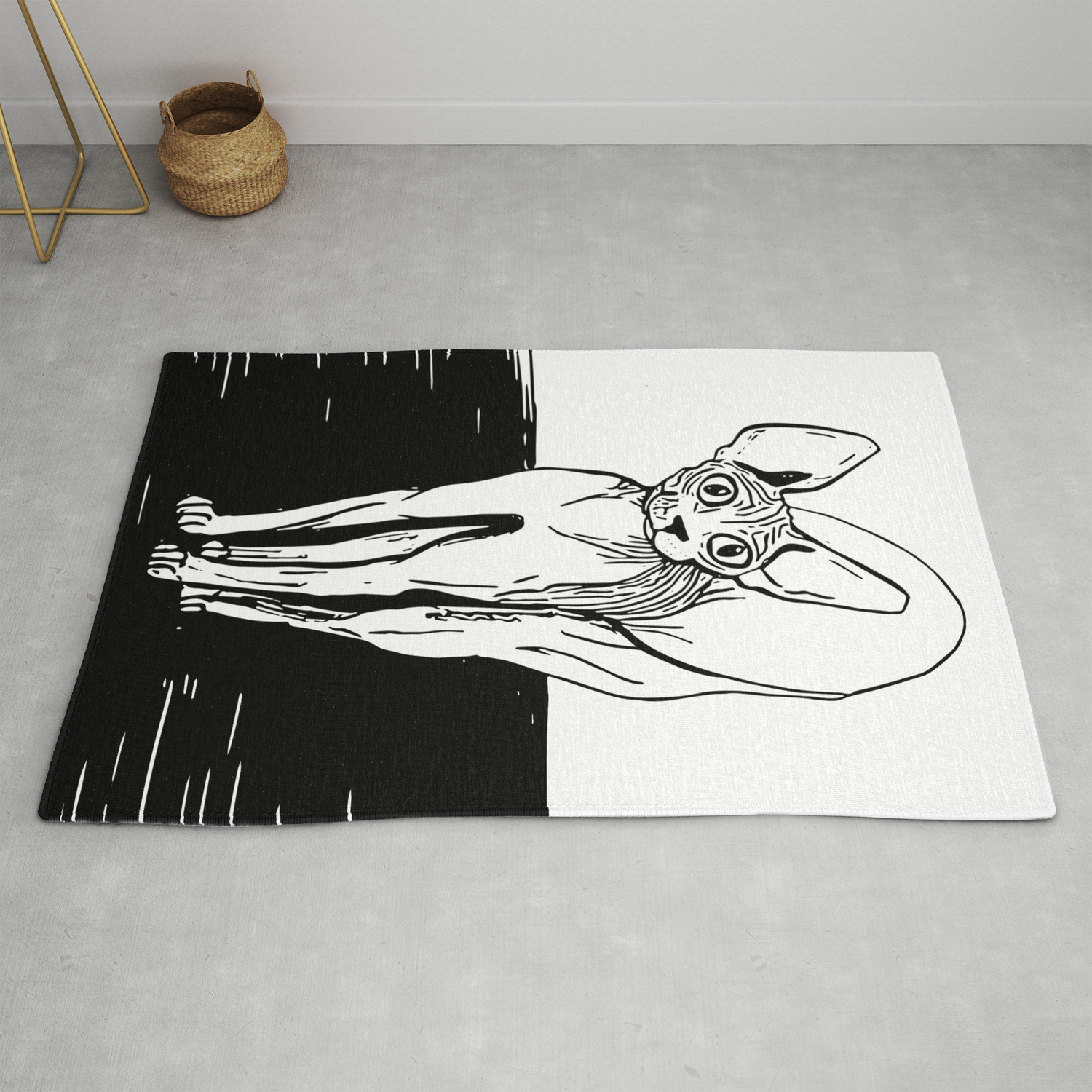 Black and white sphynx cat line drawing sphynx lovers gift naked cat wrinkly kitty rug by ananovakovic