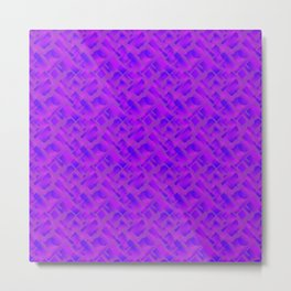 Stylish design with interlaced circles and violet rectangles of stripes. Metal Print