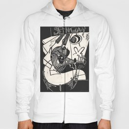Herbie's Tune, Abstract Jazz Instruments Black and White Block Print Hoody