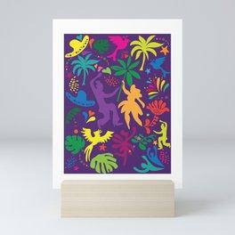 Carnival Samba Dancers Tropical Tree Leaves Contemporary Pop Art Mini Art Print