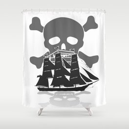 Pirate Ship Skull and Crossbones Shower Curtain