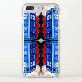 British Blue Police Public Call Box - Mirror 16 Clear iPhone Case