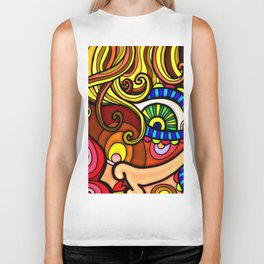 Abstract Doodle Face Biker Tank