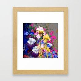 PINK-YELLOW PURPLE IRIS GARDEN GREY ART Framed Art Print