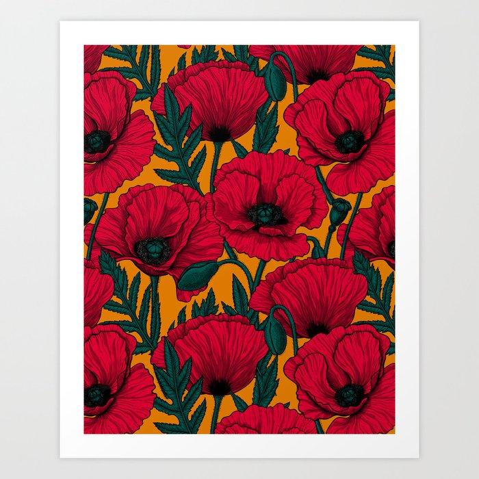 Red poppy garden    Kunstdrucke