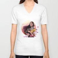 pocahontas V-neck T-shirts featuring Pocahontas by SEA Digital Art
