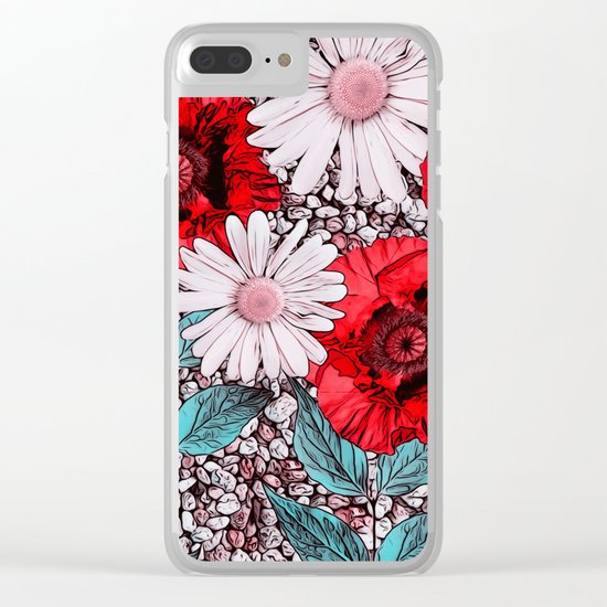 Red Poppies and margarites Clear iPhone Case