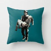 beth hoeckel Throw Pillows featuring daryl and beth by Mia Eshkol