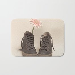 Brown Converse Boots and Pink Flower (Retro Still Life Photography)  Bath Mat