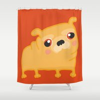 pug Shower Curtains featuring Pug  by Maripili
