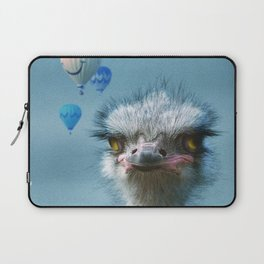 Ostrich and Balloons Whimsical Photo Laptop Sleeve