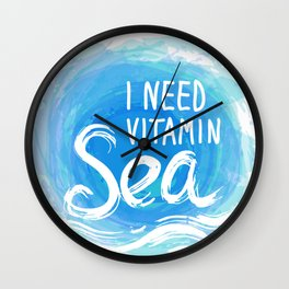 i need vitamin sea White text on blue abstract background, symbol of the sea ocean trendy print Wall Clock