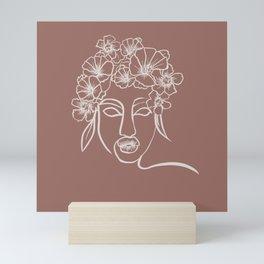 Flower woman brown Mini Art Print